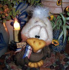 "Primitive American Bald Eagle Air Force Bird 5"" Bear Doll Vtg Patti's Ratties"