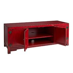 The rich red color and metal accents on this Asian-inspired piece make it as beautiful as it is functional.