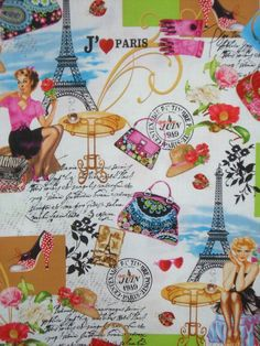 J'aime Paris Print Cotton Fabric