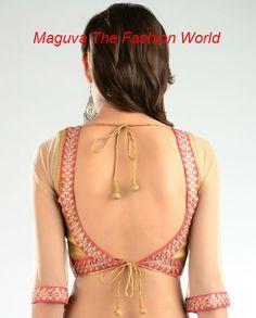 Golden brocade blouse with pink leaf work http://www.maguvathefashionworld.com/2014/08/golden-brocade-blouse-with-pink-leaf.html#.U-v-p8ddWY8