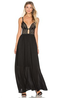 WYLDR Last Night Maxi Dress in Nude & Black Lace