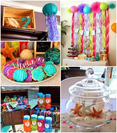 Mermaid themed birthday party with such CUTE IDEAS via Kara's Party Ideas! | Decor, cakes, cupcakes, games, printables, and MORE! #mermaidparty #mermaids #undertheseaparty #beachparty #girlparty #partyideas #partydecor (2)