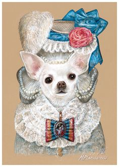 Lady Pearl Chihuahua | Art Print 11.7'' x 16.5'' | Animal Century Art Collection