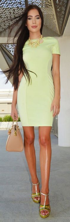 Yellow Body-con Dress Chic Style by Laura Badura Fashion