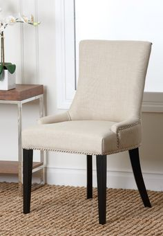Hudson White Fabric Nailhead Trim Dining Chair