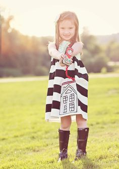 DOLL/HOUSE dress with house pocket and detachable Russian doll, black and white, make believe