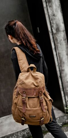 Brown #Canvas & Leather #School Travel #Rucksack Backpack