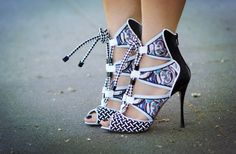 Shoe of the day - Nicholas Kirkwood x Peter Pilotto Spring 2013 Multi Print Patent Leather Lace Up Sandals