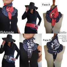Cravate/ tour de Cou  & Ceinture Reversible Chic et Précieuse : tissu coeur rouge et imprimé photo noir/ blanc volant