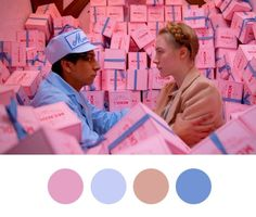 Colour palettes of Wes Anderson's imagination-AnOther mag.  The+Grand+Budapest+Hotel,+2014