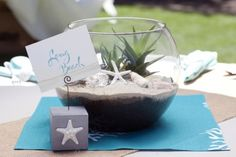 Beachy centerpieces for a Bat Mitzvah at campgrounds in California.