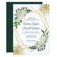 Green and White Flowers with Gold Frame Invitation - cards custom invitation card design marriage party Green Wedding Invitations, Gold Invitations, Invitation Card Design, Watercolor Wedding Invitations, Floral Invitation, Elegant Wedding Invitations, Custom Invitations, Invitation Cards, Invite