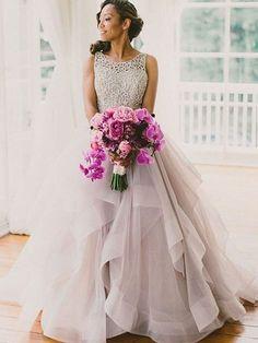 Ball Gown Sleeveless Scoop Beading Sweep/Brush Train Organza Wedding Dresses