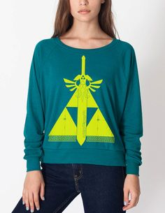 Triforce of Courage Women's California Fleece Weight Raglan  S M L on Etsy, $39.89