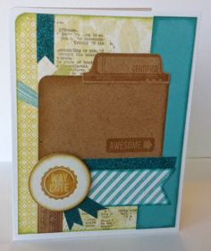"""Scrapbooking Sue: """"Way Cute"""" Card with Close To My Heart (CTMH) Skylark papers and stamps.  www.scrapbookingsue.blogspot.com"""