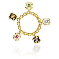 VERDURA - Maltese Cross Charm Bracelet - Maltese Cross charms in peridot, citrine, pink tourmaline, amethyst, blue topaz, enamel and 18k yellow gold, on 18k yellow gold rope link bracele