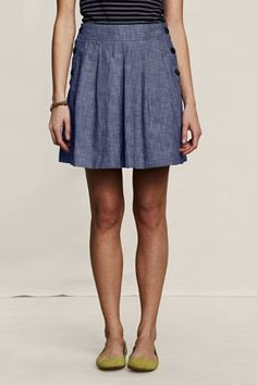 <3 the buttons on this chambray full skirt @ Lands' End Canvas $49.50