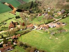 A Red Kite's eye view of Chudleigh and surrounding countryside Red Kite, English Village, Kites, Great Britain, Wonders Of The World, Countryside, The Good Place, Scotland, Ireland