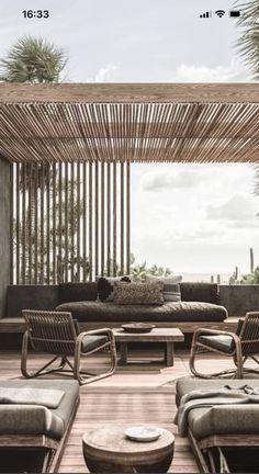 House Landscape, Garden Landscape Design, Outdoor Spaces, Outdoor Living, House With Balcony, Porch Garden, Terrace Design, Pergola Shade, Outdoor Settings