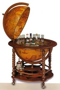 Old World Bar Globe. Liquor Cart 4 shizzle