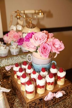 Strawberry shortcake shooters at a tea party birthday party! See more party ideas at CatchMyParty.com!