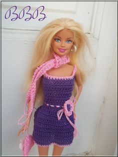 Crochet Barbie Dress Fashion Doll Clothes Purple with Pink Accents Spaghetti… Crochet Short Dresses, Fashion Dolls, Fashion Dresses, Barbie Dress, Barbie Doll, Crochet Barbie Clothes, Crochet Fabric, Barbie Patterns, Knitted Dolls