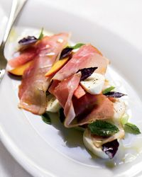 Melon-and-Peach Salad with Prosciutto and Mozzarella Recipe
