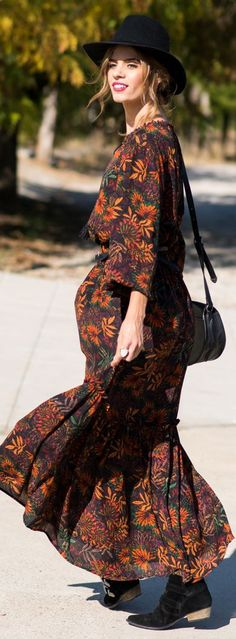 Black Suede Booties Black Hat Boho Floral Maxi Dress Fall Inspo by Ms Treinta