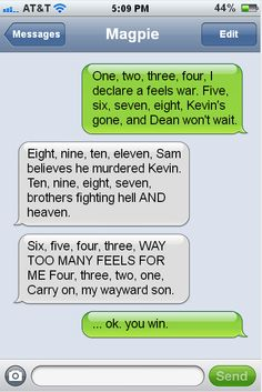 Me and my roommate texting. …in my defense, I can't rhyme to save my life… NOT MY FAULT SHE'S A BORN POET.  OK, so I got owned. Humour, Funny Texts, Supernatural Texts, Supernatural Imagines, Destiel, Johnlock, Misha Collins, Jared Padalecki, Jensen Ackles