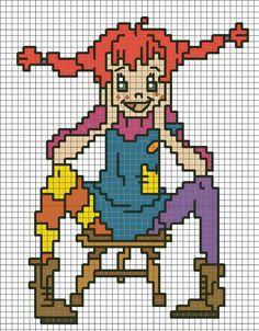 Billedresultat for pippi langstrømpe hama Diy Embroidery, Cross Stitch Embroidery, Cross Stitch Patterns, Crochet Diagram, Crochet Chart, Hama Beads Patterns, Beading Patterns, Pippi Longstocking, Stitch Cartoon