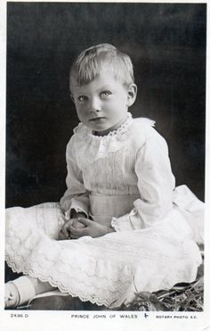 Prince John of Wales, aged 4, 1909. Youngest child of King George V and Queen Mary. Prince John died of epilepsy at age 13 in 1919.