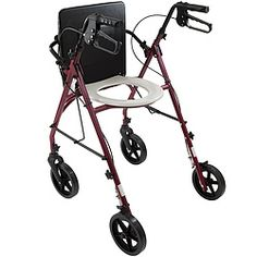 Rollator with padded seat and hidden toilet seat. All the features of a standard rollator, but rolls over a commode and works as a toilet safety frame. Hidden Toilet, Bathroom Safety, Cleaning Wipes, Frame, Ibm, Lead Time, Homework, Household, Wheels