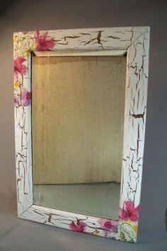 Antique Beveled Edge Mirror in Antique Oak Frame Decoupage Wood, Decoupage Furniture, Decoupage Vintage, Painted Furniture, Mirror Painting, Painting On Wood, Painting Frames, Wood Crafts, Diy And Crafts