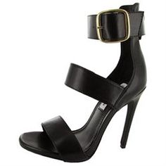 Brand: Steve Madden. Style: Mysterii. Stiletto heel Materials: Leather upper, man-made sole, metal hardware. Open toe. Strap across the vamp. Top ankle strap with buckle closure. Approximate Measurements: 4.5-Inch heel height, 0.25-inch platform height.'