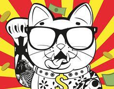 Things got slightly out of hand after I got bored tracing a random fortune cat for fun. Japanese Pop Art, Cat Logo, Maneki Neko, Shirt Print, Cat Tattoo, Cool Wallpaper, Asian Art, Cat Art, Tigger