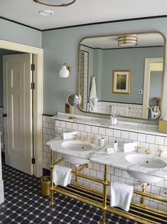 Luxury Master Bathrooms, Master Bedroom Bathroom, Bathroom Renos, Bathroom Renovations, 1920s Bathroom, Vintage Bathrooms, Bathroom Basin, Wood Bathroom, Bathroom Vanities