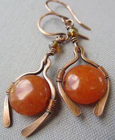 VENTA / Cobre alambre pendientes con cuarcita naranja / por mese9
