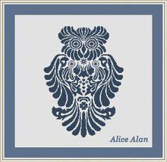 Cross Stitch Pattern Vintage silhouette owl от HallStitch на Etsy