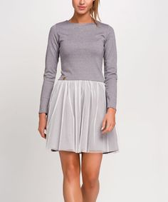Loving this Gray Melange Chiffon-Skirt Skater Dress on #zulily! #zulilyfinds