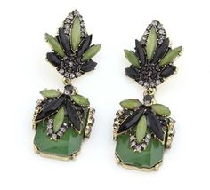 Star Jewerly 2015 New Vintage Fashion Earring Green Flower Crystal Stone Stud Earrings For Woman Gift