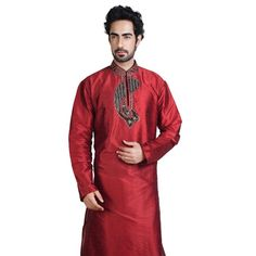 Maroon Art Silk Readymade Kurta with Dhoti