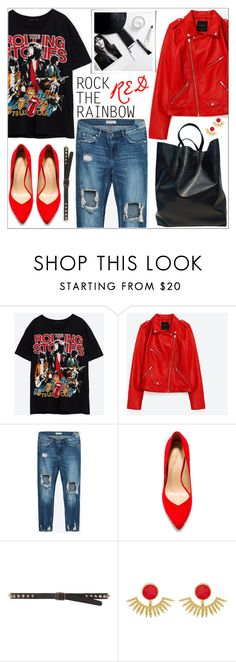 """""""Look # 682"""" by lookat ❤ liked on Polyvore featuring Zara, Ottoman Hands, rock, rainbow, RockTheRainbow and rainbowred"""