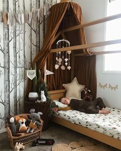 Cute little boy room - wallpaper ideas- Toddler Rooms, Toddler Bed, Baby Room Boy, Baby Room Decor For Boys, Baby Decor, Baby Baby, Little Boys Rooms, Forest Nursery, Forest Room