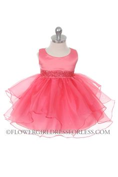 Girls Dress Style 0302- CORAL Sleeveless Satin and Organza Layered Dress with Bead Waistline $39.99