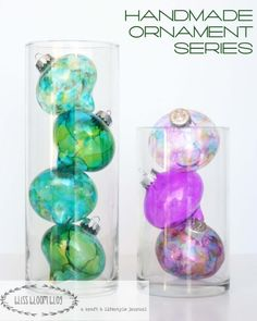 Try to find a more beautiful Christmas craft than these Whimsical Watercolor Glass Ornaments. You don't even have to be an artist to create the most exquisite handmade ornaments. Use alcohol ink for the most breathtaking patterns. Christmas Ornament Crafts, Christmas Projects, Holiday Crafts, Christmas Crafts, Christmas Ideas, Christmas Decorations, Easy Decorations, Holiday Ideas, Christmas Baubles