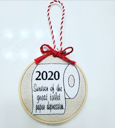 Customizable 2020 Toilet Paper Funny Embroidery Christmas Ornament - 4 inch hoop Christmas Ornament Funny Embroidery, Paper Christmas Ornaments, Something To Remember, Toilet Paper, Hoop, Holiday Decor, Etsy, Frame, Toilet Paper Roll