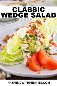 This Classic Wedge Salad has crunchy lettuce and toppings with a fresh and tangy dressing. Crunchy iceberg lettuce, a creamy homemade blue cheese dressing, crispy bacon, fresh tomato, and parsley make this the perfect pair for a juicy steak or chicken entree. #spendwithpennies #wedgesalad #easysalad #easyrecipe #freshrecipe #iceburglettuce #withdressing #homemade #fromscratch #creamydressing #bluecheesedressing Top Recipes, Cooking Recipes, Healthy Recipes, Easy Recipes, Easy Salads, Easy Meals, Wedge Salad, Blue Cheese Dressing, Juicy Steak