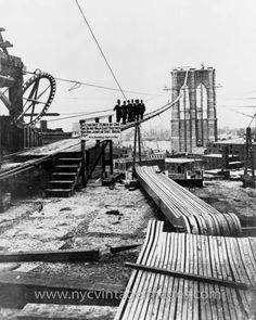 Constructing the Brooklyn Bridge - 1877