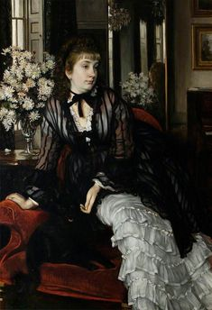"James Tissot: ""Sydney Milner-Gibson"",1872, oil on canvas, current location:	Unknown."