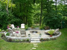 Really neat patio with built-in fire pit.
